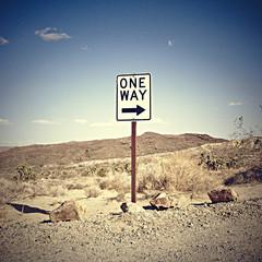 USA, California, One way sign in desert
