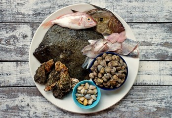 Raw seafood on plate