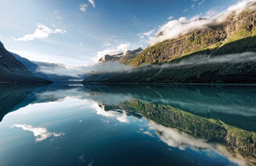 Norway, View of fjord lake
