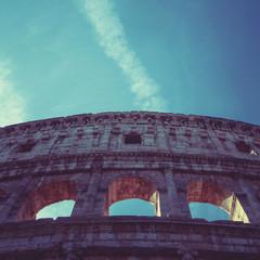 Italy, Rome, Coliseum outside facade ruins