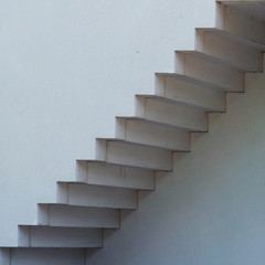 Close-up of white staircase