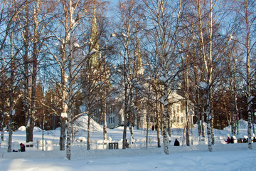 Kyrka Jokkmokk Norrbotten vinter