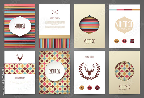 Aluminium Vintage Poster Set of brochures in vintage style. Vector design templates.