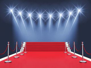 Red carpet event with spotlights , Award ceremony , Premiere