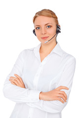 Support phone operator  in headset, blonde girl, isolated