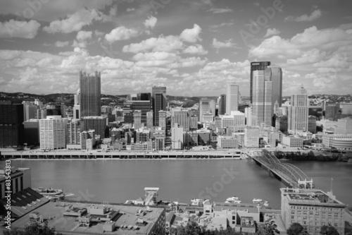 Foto op Aluminium New York Pittsburgh skyline. Black and white.