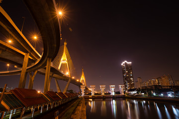 Industrial circle bridge at night , Bhumibol bridge
