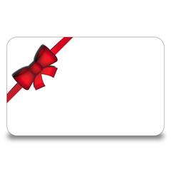 Carta/biglietto bianco con nastro e fiocco obliquo