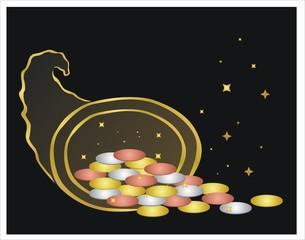 cuerno de la abundancia con monedas