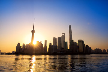 Pudong skyline at sunrise, Shanghai, China