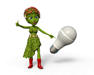 Green Girl with LED lightbulb giving a thumbs up