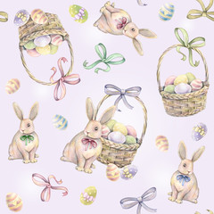 Rabbit with Easter basket on a pink background. Seamless pattern