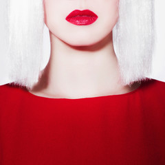 red lips of beauty young woman