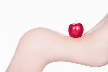 Red apple of Beautiful female body