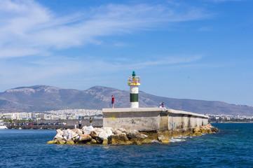 lighthouse in Alimos marina. Athens. Greece
