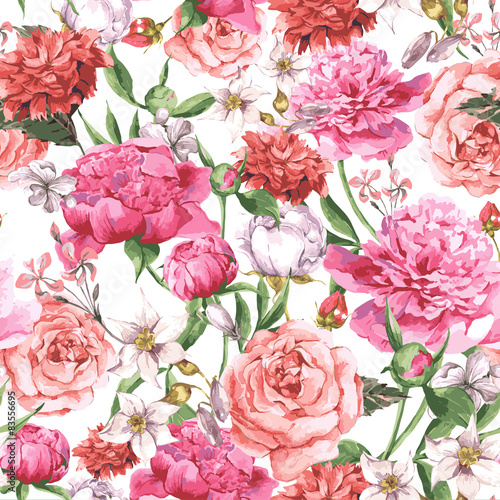 Fototapeta Summer Seamless Watercolor Pattern with Pink Peonies and Roses