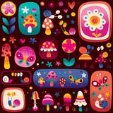 Fototapeta snails, flowers, mushrooms cute nature pattern