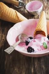 ice cream and blackberries