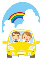 夏 ドライブを楽しむカップル