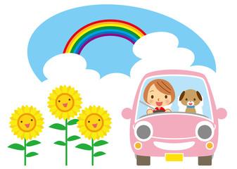 夏 ワンちゃんと笑顔でドライブ