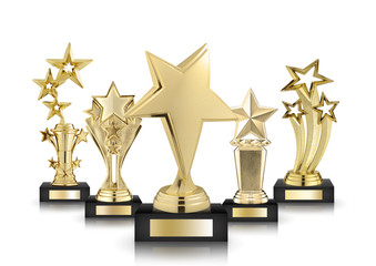gold star trophies isolated on white background