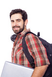 Closeup of a smiling student holding a laptop, isolated on white