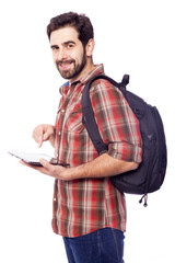 Smiling student holding a tablet pc, isolated on white backgroun