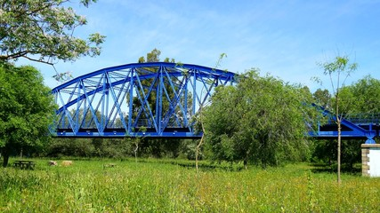 Blue iron bridge over river and meadow (4K)