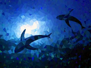 Triangle background underwater world