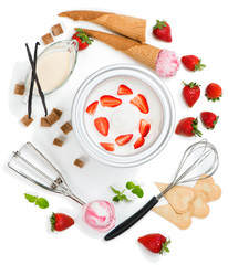 Ingredients for strawberry ice cream, top view