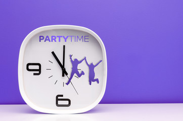 White clock showing party time on purple background