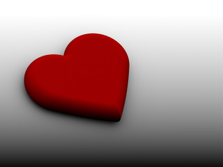 Red 3D heart on black white background