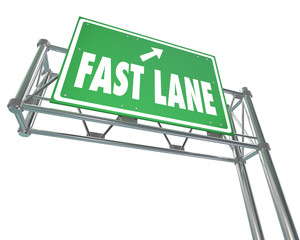 Fast Lane Words Green Freeway Highway Road Sign Quick Service