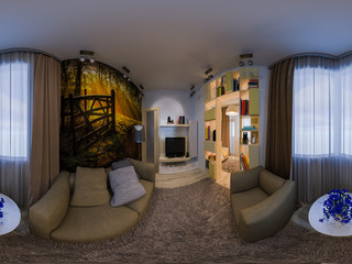 3D panorama of the combined drawing room and the nursery. It is