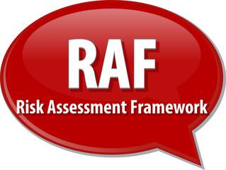 RAF acronym word speech bubble illustration