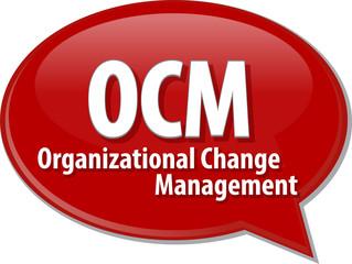 OCM acronym word speech bubble illustration