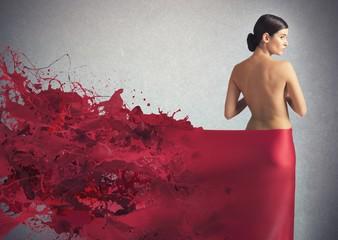 Elegant liquid red veil