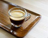 Cup of espresso coffee on wood tray - 83571268