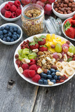 ingredients for a healthy breakfast - berries, fruit and muesli