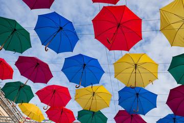 Street Colorful umbrellas flying, St-Peterburg, Russia