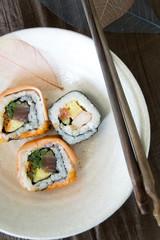 dish of sushi roll