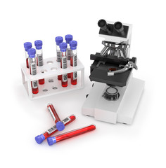 Laboratory work, microscope, test tubes, on a white background