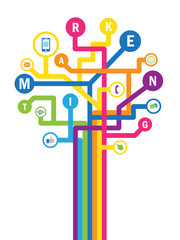 """Colourful vector letters and icons """"MARKETING"""" tree"""