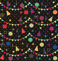 Holiday seamless abstract background with streamers, confetti