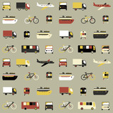 Seamless pattern with colorful transport icons