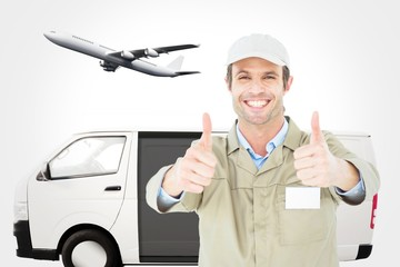 Composite image of happy delivery man gesturing thumbs up