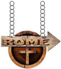 Rome - Wooden Sign with Cross