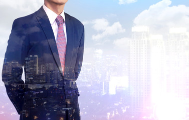 Multiple Exposure business man wearing black suit.