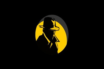 Silhouette of writer or detective