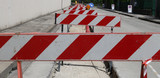 hurdles in the construction site during the roadworks